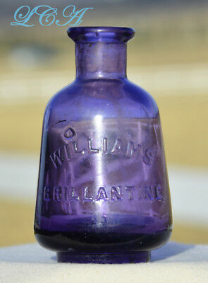 Pear shaped J B WILLIAMS BRILLANTINE fancy antique HAIR TONIC purple bottle