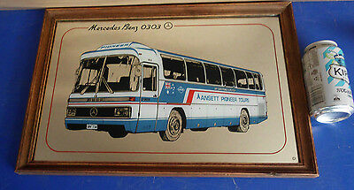 1970's VINTAGE MERCEDES BENZ 0303 BUS PIONEER ANSETT TOURS WALL MIRROR SIGN