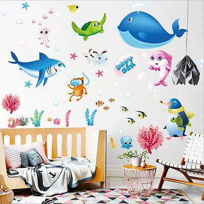 3d wandtattoo wandsticker wale meer sticker boden kinderzimmer aufkleber fun eur 5 94 for Deko sticker kinderzimmer