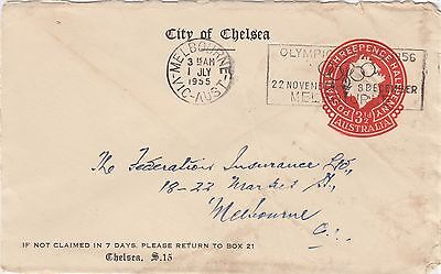Stamp 3&1/2d red QE2 City of Chelsea cover with Olympic Games slogan postmark