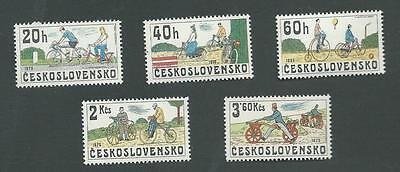 1979 Czechoslovakia. Historic Bicycles Set Of 5 Stamps. Sg.2485-9. Mnh