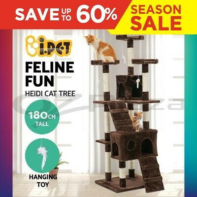 Cat Scratching Tree Post Sisal Pole Toy House Furniture Multi level Brown 180cm