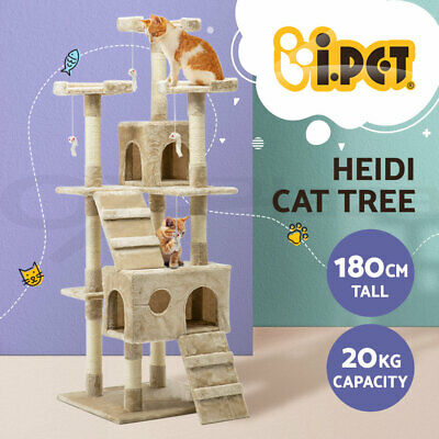 Cat Scratching Tree Post Sisal Pole Toy House Furniture Multi level Beige 180cm