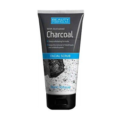Beauty Formulas Facial Scrub With Activated Charcoal Deep Exfoliating NEW 150ML