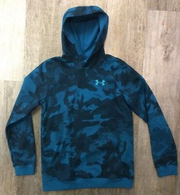 Under Armour Sportstyle Fleece Printed Kinder Hoody Kapuzenpullover Blau Neu