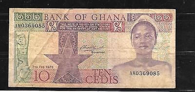 GHANA #20a 1979 VG CIRC 10 CEDIS OLD  BANKNOTE PAPER MONEY CURRENCY BILL NOTE