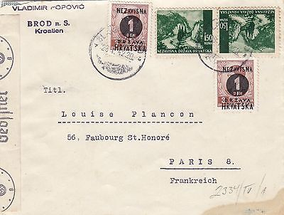 Stamps Croatia on Vladimir Popovic cover German censor tape & red marks back