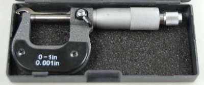 "0-1"" Imperial Engineers Micrometer with Carbide Faces x 0.001"""