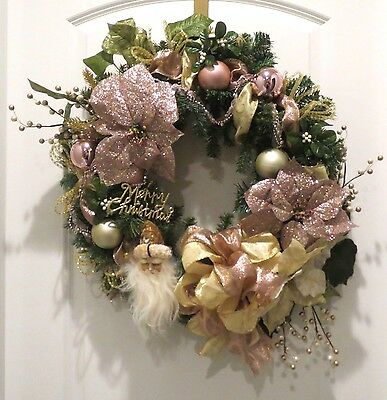 Handmade Christmas Wreath Pink Blush Old World Traditional Elegant Santa