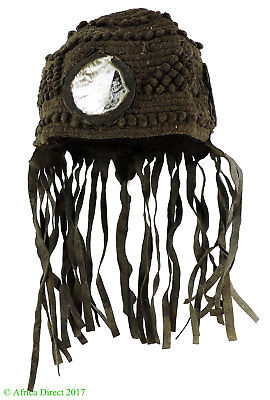 Bamana Hat Woven Hunter's Cap with Mirrors Mali African Art SALE WAS $95