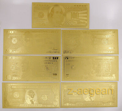 1 Set 7 Pcs Gold Plated US dollar Paper Money Banknotes Crafts Collection