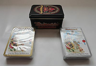 Budweiser Tin with 2 Packs of Factory Sealed Playing Cards