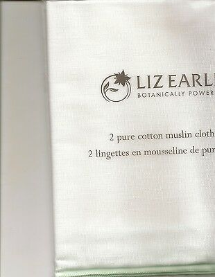 2 x Liz Earle White Cotton Muslin Cloths NEW