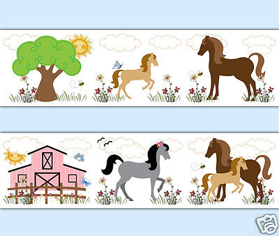 Horse Wallpaper Border Wall Art Pony Decals Girl Barnyard Farm Animal Stickers