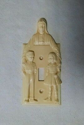 Vintage High Relief Virgin Mary with 2 Children Light Switch Plate Cover