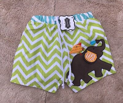Mud Pie Safari Elephant Baby Boy's Size 12-18 M Swim Trunks