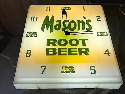 "vintage Mason's Root Beer Advertising Lighted Clock 16"" X 16"" X 4"""