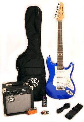 SX RST 3/4 EB Electric Guitar Package Blue 3/4 Size +Bag Amp