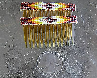 "Cute, Handmade, Very Nicely Beaded ""Childs"" Hair Combs Navajo Indian Nathaniel"