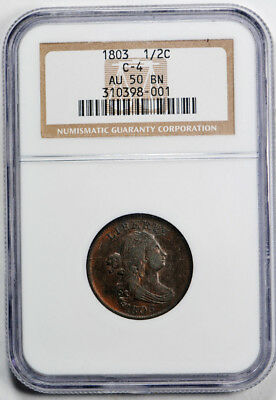 1803 Draped Bust Half Cent C-4 1/2C NGC AU 50 About Uncirculated Rotated Dies