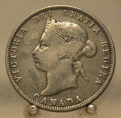 1880 Wide 0 Canada Silver Quarter, Old Sterling Silver 25 Cent Coin