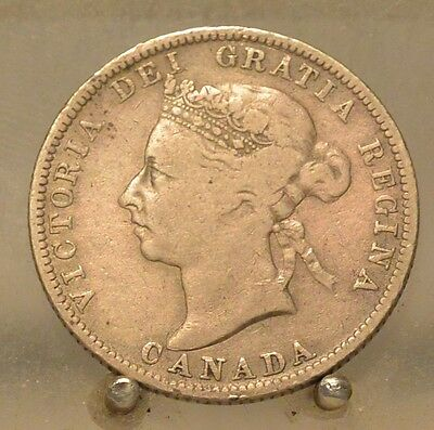 1889 Canada Silver Quarter, Old Sterling Silver 25 Cent Coin