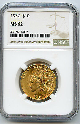 1932 US Gold $10 Indian NGC MS 62 Nice Full Lustre