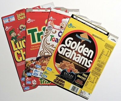 S169 General Mills Lot of 4 Cereal Box Flats 1993 BATMAN: THE ANIMATED SERIES Ad