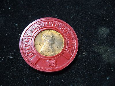 """Vintage 1948 Tucker Chevrolet Wheat Penny Keep Me And Never Go Broke Coin 1-3/8"""""""
