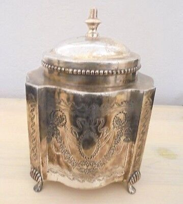 Antique Oviate shaped Silver-plated Metal biscuit tin with 4 crocus shaped feet