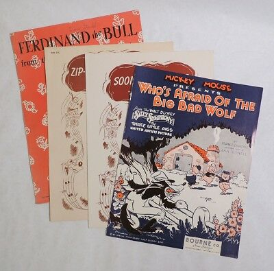 M735 Vintage WALT DISNEY Sheet Music Lot of 4 Song of the South & MORE (1940s) {