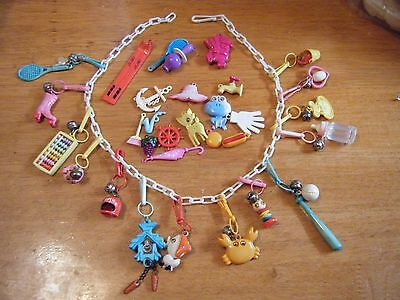 VTG 80's Plastic  Bell Charm White  Necklace FREE SHIP Plus loose charms