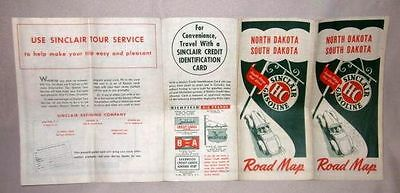 1940s SINCLAIR GAS OIL ROAD MAP North and South Dakota