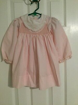 Rosey Kids Baby Smocked gown Dress Size 2T Pink Collar Embroidered