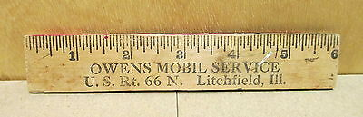 "Owens Mobil Service N. Rt 66 Litchfield Ill 6"" Wood Rule Ruler Vintage"