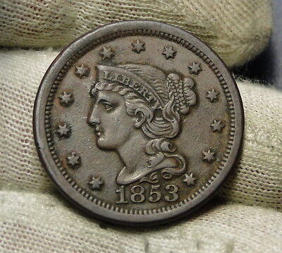 1853 Large Cent, Braided Hair Penny - Nice Coin, Free Shipping  (6420)