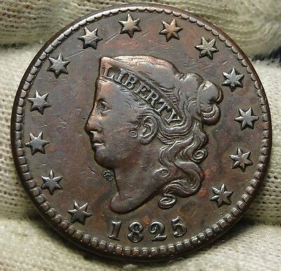 1825 Penny Coronet Large Cent , Nice Coin, Free Shipping  (6453)
