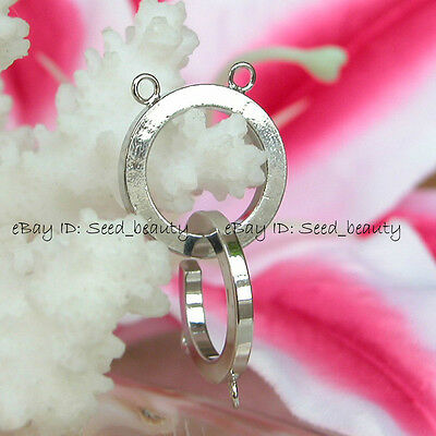 2 Strands White Gold Plated Toggle Jewelry Clasp 18mm