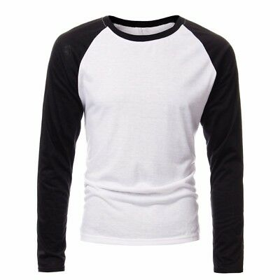 White&Black S INCERUN Men Casual Slim Fit T-Shirt Crew Neck Tee Long Sleeve Tops