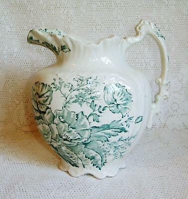 RARE Antique COCKRAN & FLEMING BRITANNIA Teal Transfer LAWRENCE Wash Set Jug