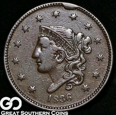 1836 Large Cent, Coronet Head, ** Free Shipping!
