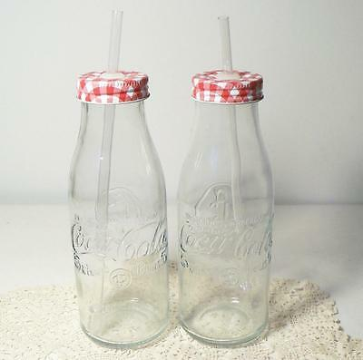 2 Coca-Cola Country 15 Oz Glass Bottle Drinking Glasses~Gingham Caps w/Straws