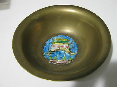 Old Chinese Metal And Enamel Decorated Bowl