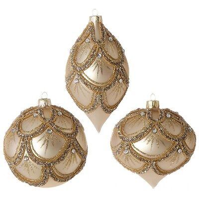 3722886 RAZ Set/3 Gold Beaded Jewel Glass Christmas Ornament Victorian Tradition