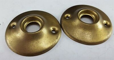 "2 Vintage Art Deco Satin Brass Rosettes Back plate 2"" Door Hardware"