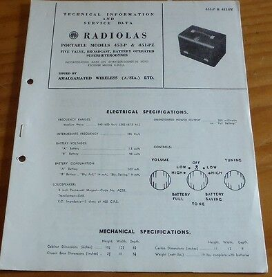 Technical & Service Data Brochure AWA Radiola Model 451-P & 451-PZ  valve radio