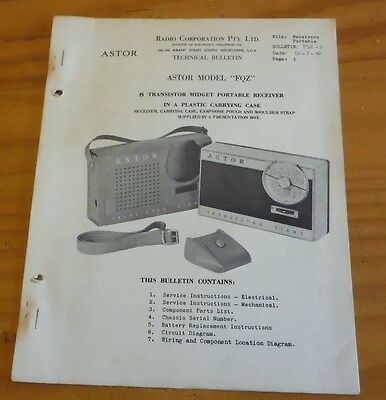 Astor Transistor Radio model FQZ Service Data ( 1960 vintage / retro radio )