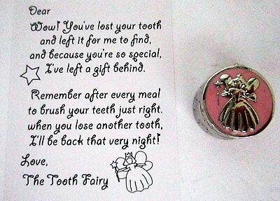 "Baby Keepsake ""my First Tooth"" Silver & Pink Box With Tooth Fairy Calling Card"