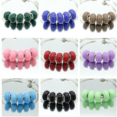 10pcs silver MURANO European Charm beads LAMPWORK fit Necklace Bracelet Chain #2