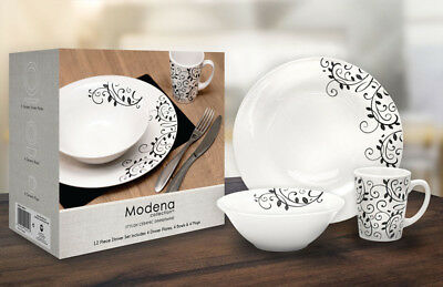 12 Piece Dinner Set Scroll Design 4x Plates,Bowls & Mugs Dishwasher Safe Ceramic